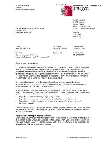 Brief d.d. 30 november 2010 met bijlage - Gemeente Nijmegen