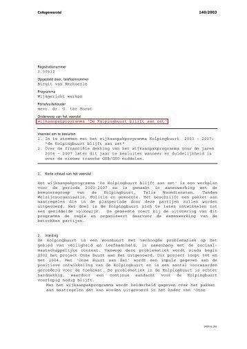 Raadsvoorstel 140/2003 Gepubliceerd op 28/06/2013 - Gemeente ...