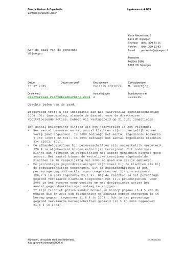 Brief d.d. 19 juli 2005 (met bijlagen) - Gemeente Nijmegen