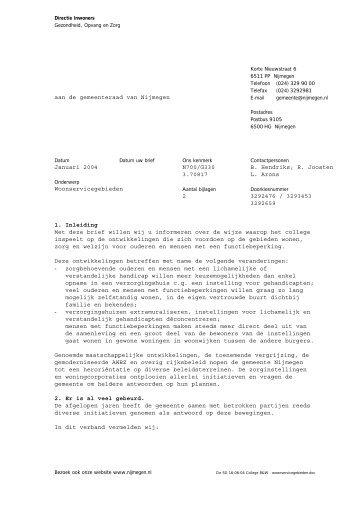 Brief d.d. januari 2004 (met bijlagen) - Gemeente Nijmegen