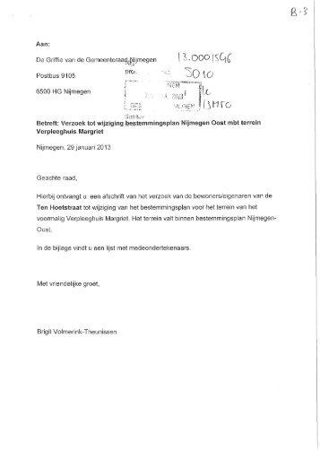Brief d.d. 29 januari 2013 met bijlage - Gemeente Nijmegen