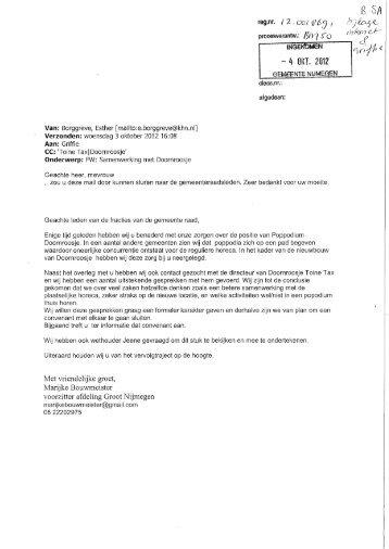 Brief d.d. 3 oktober 2012 - Gemeente Nijmegen