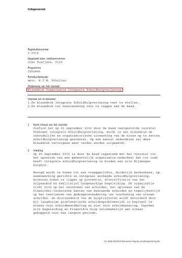 Collegebesluit d.d. 18 maart 2003 - Gemeente Nijmegen