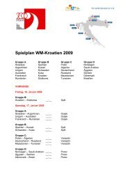 Spielplan WM-Kroatien 2009 - Handballworld