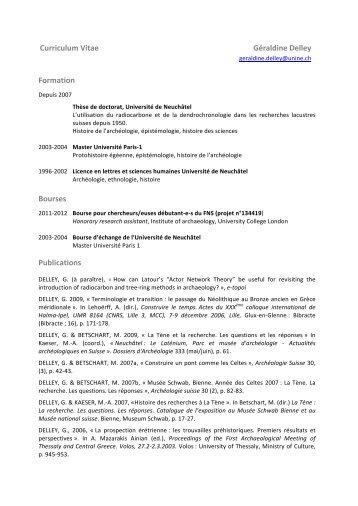 Curriculum Vitae - Université de Neuchâtel
