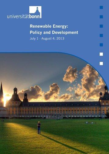 Renewable Energy: Policy and Development - Universität Bonn