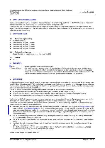 Certificering consumptie ei/ei prod NCAE
