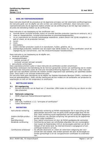 Certificering Algemeen - Voedsel- en Waren Autoriteit