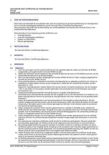 Aanvullende eisen certificering van visserijproducten