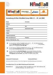 Anmeldung All-Star HAndBall-Camp 2008, 21. – 25 ... - Handballworld