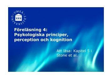 Föreläsning 4: Psykologiska principer, perception och kognition