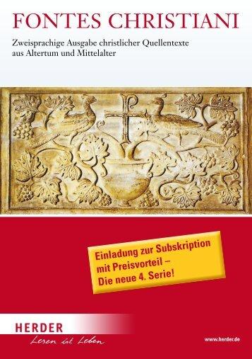Verlag Herder, Freiburg: Prospekt: Fontes Christiani, 4. Serie