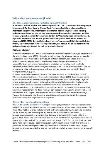 Vrijheid en verantwoordelijkheid - Benedictus de Spinoza.nl
