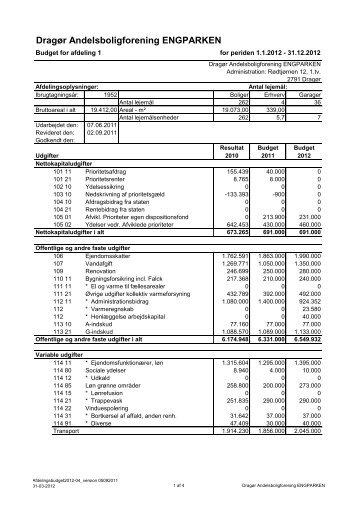 Budget for afdelingen 2012