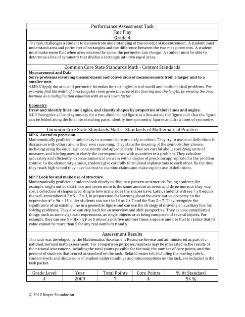 Performance Assessment Task Fair Play Grade 4 Common Core