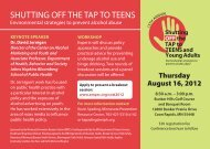 SHUTTING OFF THE TAP TO TEENS - Tri-City Partners