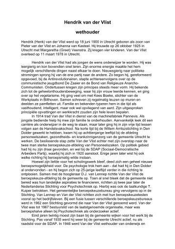 Hendrik van der Vlist wethouder - Het Utrechts Archief