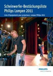Scheinwerfer-Bestückungsliste Philips Lampen 2011