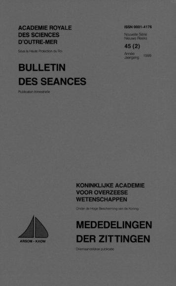 bulletin des seances mededelingen der zittingen - Royal Academy ...