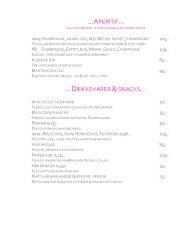 Menukort - Restaurant Piaf