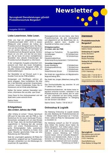PSB - Newsletter 1 - Sprungbrett Dienstleistungen gGmbH