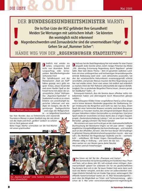 Der BundesgesundheitsministeR warnt: - Regensburger Stadtzeitung