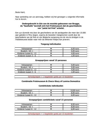 Algemeen info blad prijzen - Lerarenkaart