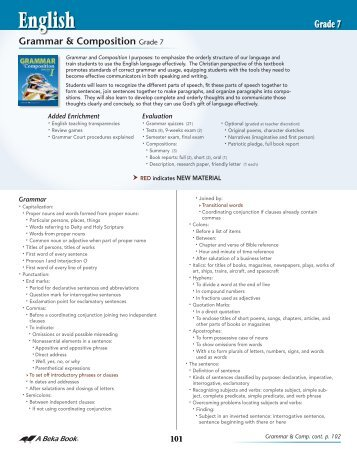 ABB School Scope and Sequence 2012- English ... - A Beka Book