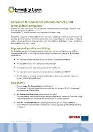 Checklista för jämställdhet - Networking Europe