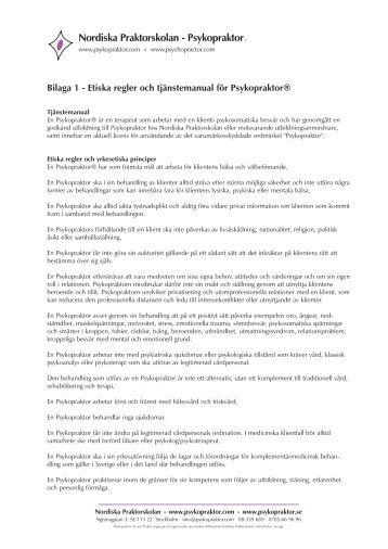 Etiska Regler - Nordiska Psykopraktor Förbundet
