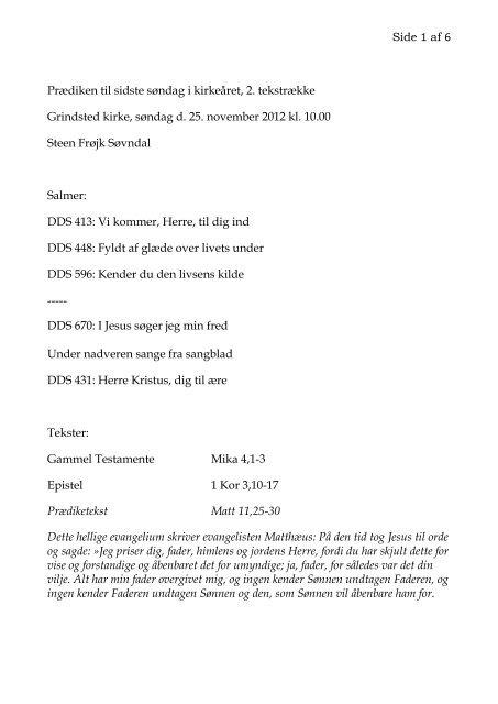 Side 1 af 6 Prædiken til sidste søndag i kirkeåret, 2 ... - Grindsted Sogn