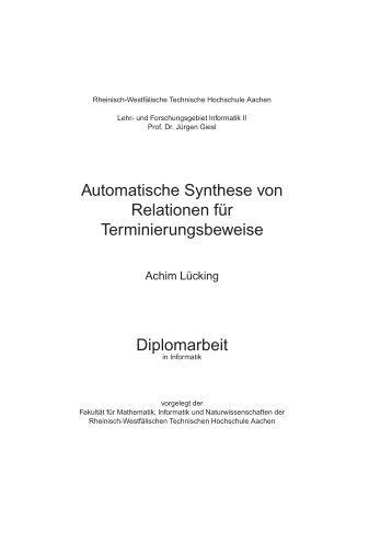 Automatische Synthese von Relationen f¨ur Terminierungsbeweise ...