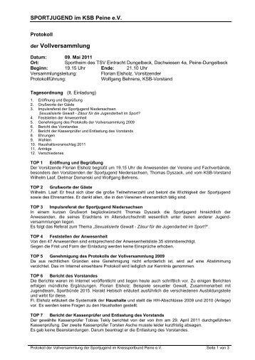 Protokoll der Vollversammlung 2011 - bei der Sportjugend Peine!