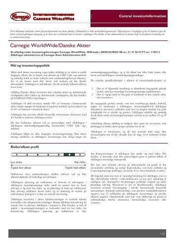 Central investorinformation - Danske Aktier - Carnegie WorldWide