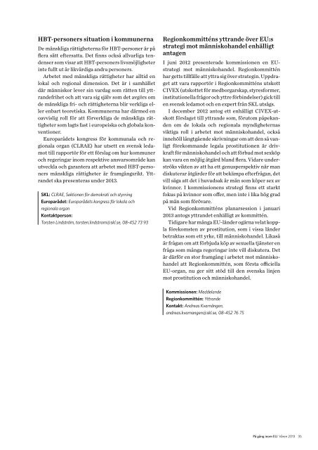 På gång inom EU - pdf - Sveriges Kommuner och Landsting