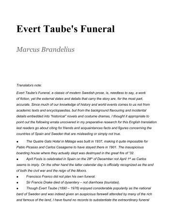 Evert Taube's Funeral - Plumplucker
