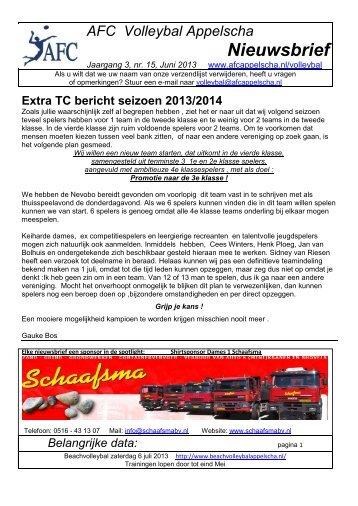 AFC Volleybal Appelscha Nieuwsbrief - AFC Appelscha