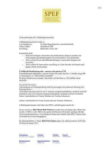 Verksamhetsberättelse Utbildningskommittén 2011 - SPEF
