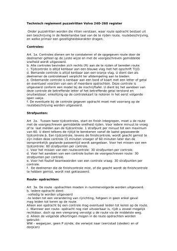 Technisch reglement puzzelritten Volvo 240-260 register
