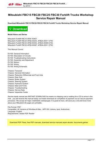 mitsubishi fd100n 120n 135n 150an 160an forklift trucks repair  mitsubishi fbc15 fbc20 fbc25 fbc30 forklift trucks workshop pdf