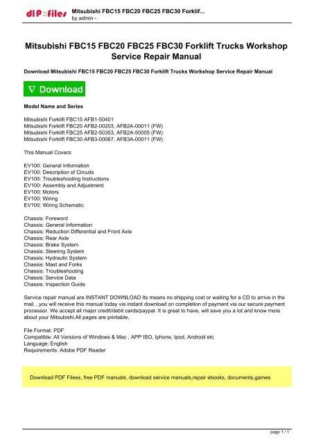 Mitsubishi FBC15 FBC20 FBC25 FBC30 Forklift Trucks Workshop pdf