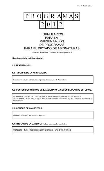 Estructura Psicológica Individual del Sujeto II - Facultad de Psicología
