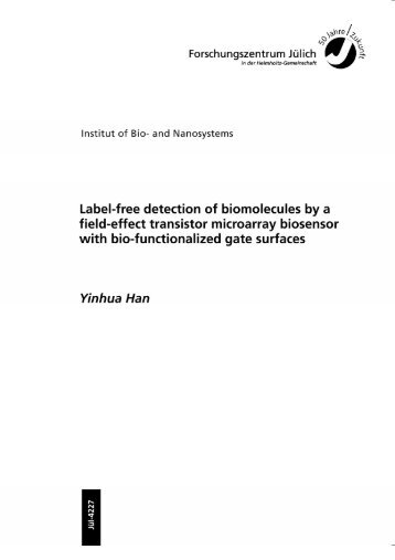 Label-free detection of biomolecules by a f ield-effect transistor ...
