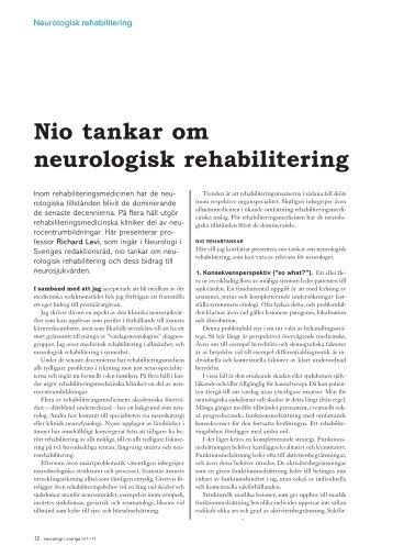 Nio tankar om neurologisk rehabilitering - Neurologi i Sverige