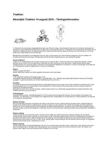 Triathlon Nävertjäls Triathlon 14 augusti 2010 – Tävlingsinformation