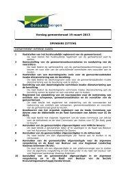 Verslag gemeenteraad 19 maart 2013