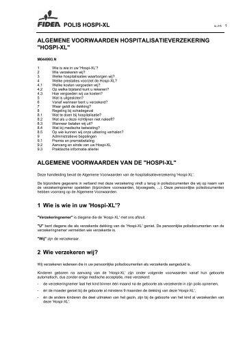 POLIS HOSPI-XL ALGEMENE VOORWAARDEN ... - Fidea