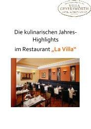 "Highlights im Restaurant ""La Villa"" - inFranken"