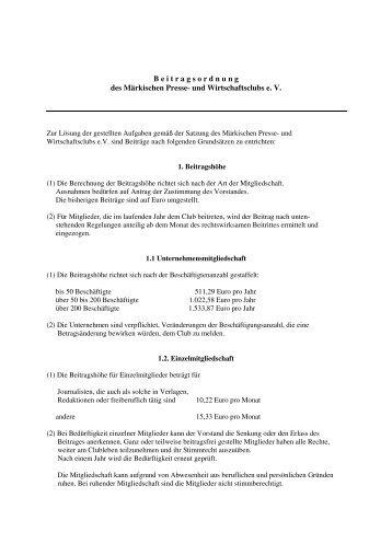 Beitragsordnung - Märkischer Presse