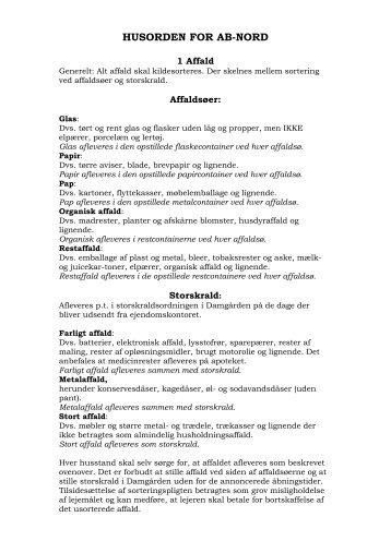 HUSORDEN FOR AB-NORD - BO-VEST